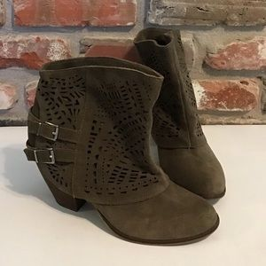 NAUGHTY MONKEY Suede Ankle Lazer Cut Boots